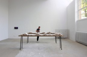 'Zwischen Uns (Between Us)', installation and performance, 2014-2015. Clay, wood, metal, dimensions variable.